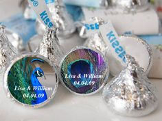 personalized PEACOCK WEDDING Hershey's Kisses labels - bridal shower wedding - FREE shipping. $15.99, via Etsy.