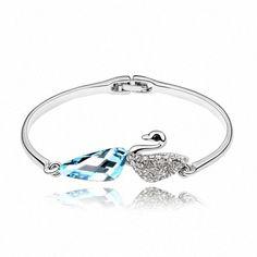 TAOTAOHAS- [ Search Name: Aside Swan Lake ] (1PC) Crystallized Swarovski Elements Austria Crystal Bangle Bracelet, Made of Alloy Plated with 18K True Platinum / White Gold and Czech Rhinestone