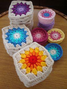 Sunburst granny squares...I will now start my new addiction
