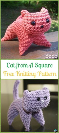 Amigurumi Cat from A Square Softies Toy Free Knitting Pattern - Knit Cat Toy Softies Patterns