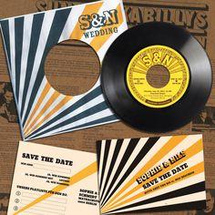 Vintage Einladungen zur Hochzeit aus echter Vinyl Single Diese mit Liebe zum Detail entwickelten Einladungssets sind aus meiner Leidenschaft für Grafik und Musik der 50er und 60er Jahre...