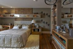 maithia_guedes11 Older Boys Bedrooms, Kid Rooms, Young Mans Bedroom, London House, Man Room, My Dream Home, Bookcase, Furniture Design, Home Improvement