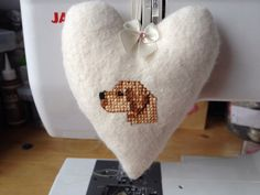 Hanging Fabric Heart hand embroidered with a Yellow Labrador on Etsy, £8.50