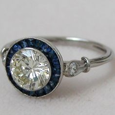 Antique Art Deco Style Sapphire and 1.25ct Diamond Engagement Ring