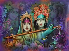 Radha Krishna Holding Flute (Reprint on Paper - Unframed)