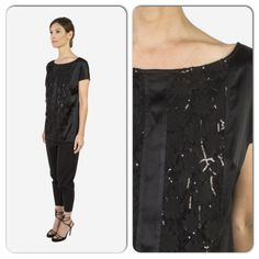 Lace T and stretchy silk pants