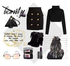 """""""Fall Goth Vibes"""" by cosmicdeep on Polyvore featuring Balmain, Valentino, Lancôme, goth and Fall2016"""