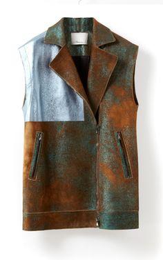 Sleeveless Moto Block Foiled Vest by 3.1 Phillip Lim for Preorder on Moda Operandi