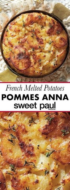Anna: French Melted Potatoes This is a delicious buttery side dish, or use as a tapas for gatherings!This is a delicious buttery side dish, or use as a tapas for gatherings! Potato Sides, Potato Side Dishes, Veggie Dishes, Food Dishes, Side Dishes For Pasta, Healthy Vegetable Side Dishes, Tapas Dishes, Vegetarian Side Dishes, Vegetarian Soup