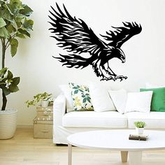 Wall Decals Bird of Prey Tribal Flaming Eagle Hawk Flying Wings Bedroom Vinyl Sticker Wall Decor Murals Wall Decal: Amazon.co.uk: Kitchen & Home