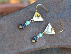 Golden Triangle Earrings with tiny Czech by practicallyfrivolous