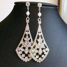 Vintage Style Rhinestone Chandelier Bridal Earrings by luxedeluxe, $58.00
