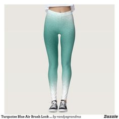 Shop Turquoise Blue Air Brush Look Ombre Leggings created by randysgrandma. Blue Spray Paint, Ombre Leggings, Blue Air, Turquoise Painting, Tee Shirts, Tees, Blue Ombre, Airbrush, Leggings Fashion