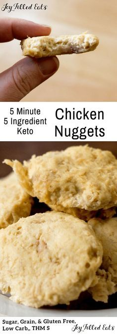 My Low Carb Chicken Nuggets have only 5 ingredients and take about 5 minutes to prepare. They freeze well, travel well, and taste delicious! There is just something about chicken nuggets. They really are a comfort food. These low carb chicken nuggets are grain & gluten free, keto & THM S.