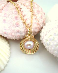 Gold sea shell rose pearl charm necklace, gold shell charm bridesmaid necklace, ocean beach bridesmaid necklace on Etsy, $42.00