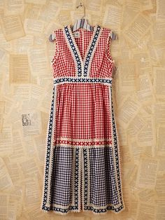 Free People Vintage Gingham and Crochet Dress