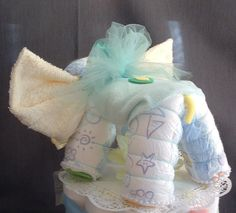 ELEPHANT Diaper Cake TOPPER Baby Shower Decorations - back view