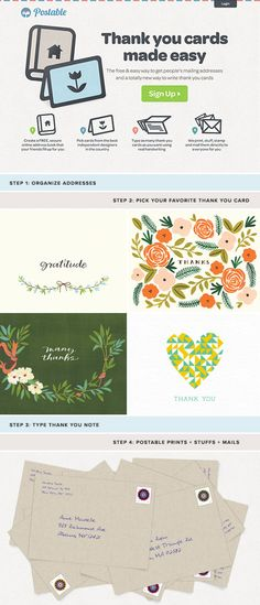 postable - mails your thank you notes for you when you type them on the website. Neat idea!