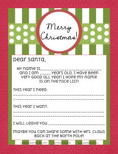 Letter to Santa: FREE Printable, blank version also available