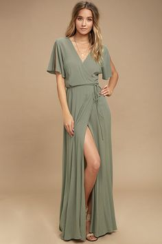 #AdoreWe #Lulus Womens❤️Designer Lulus Much Obliged Washed Olive Green Wrap Maxi Dress - AdoreWe.com