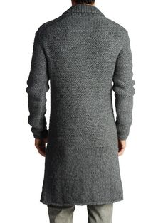 Mens hand knitted sweatercoat cardigan turtleneck от BANDofTAILORS