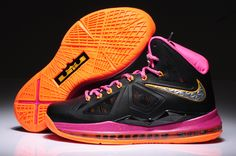 brand new 4d546 f2a43 Cheap Womens Nike Lebron X Black Pink Orange style Basketball Shoes Store