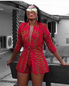 Afrikaanse print blazer jas met korte broek-Ankara print-Afrikaanse jurk-tweedelige outfit-hand gemaakt-Afrika kleding-Afrikaanse mode - Women's style: Patterns of sustainability African American Fashion, African Inspired Fashion, African Print Fashion, Africa Fashion, Fashion Prints, African Print Dresses, African Fashion Dresses, African Dress, African Prints