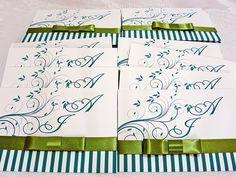 Convite de casamento Verde e Branco  By Missbibi conviteria