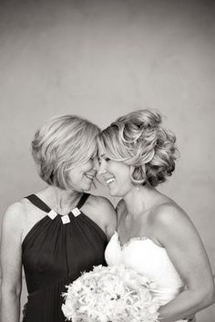 Love the brides hair! Picture with Mother on Wedding day, so cute!