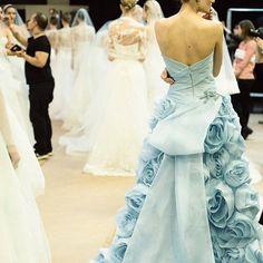 Something Blue  #moniquelhuillier #mlbride #bride #backstage #wedding #mlfall15bridal #weddingdress #bts
