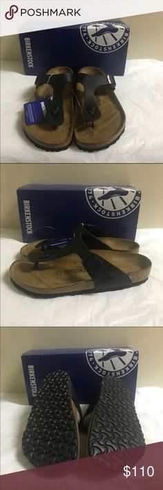 Birkenstock thong Sandals Gizeh Flip ... Birkenstock thong Sandals Gizeh Flip Flop Sandals Faux Black Leather Beige Cork Sole Comfort Fit German Shoes Adjustable Buckle strap New with Box size 41 ( 10 /10.50 )... Birkenstock Shoes Sandals