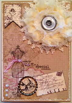 Altered box top with rosette flower, doily, bottle cap, chipboard banner