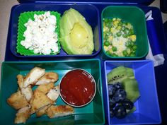Kid Bento Lunch -popcorn -avocado -peas and corn with parmesan cheese -Bell and Evans GF chicken  -ketchup -blueberries and kiwi