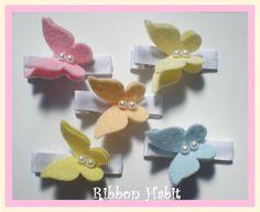 Sweet Pastel Spring Felt Butterflies & Pearl Clips by Ribbonhabit, $10.00