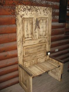 Repurposed Old Vintage Wood Doors as crafted bench I would look into using a newer door I'd distress, don't like to cut up old doors. Old Furniture, Repurposed Furniture, Repurposed Doors, Refurbished Door, Furniture Vintage, Recycled Door, Furniture Refinishing, Salvaged Wood, Refurbished Furniture