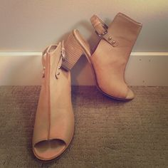 Catherine Open Toe Booties Super comfortable boho looking booties. Pairs perfectly with skinny jeans or to add a little edge to a sundress. Catherine Malandrino Shoes Ankle Boots & Booties