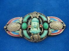 1920s Max Neiger Art Deco Egyptian Revival Czechoslovakia Brooch, Barbara Jones Collection