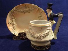 Stunning Vintage Ardalt Porcelain Tea Cup & Saucer Set   Young Man in a Hat