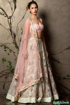 Top Picks Mint lehenga with embroidery and baby pink blouse and dupatta 2 - Shyamal and Bhumika New Collection 2015 - A Little Romance - Autummn-Winter Collection 2015 SANA! Different top but this is gorgeous for you