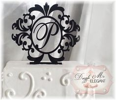 Click here http://dazzlemeelegant.com/item_243/Damask-Wreath-Monogram-Cake-Topper.htm to customize your Damask Wreath Monogram Cake Topper. #damask #wedding #cake #caketopper
