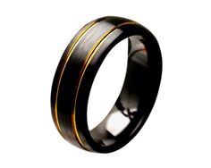 Mens Black Cermaic Wedding Band, Mens Ring, Mens Ceramic Band, His and Hers Rings,Black Ring,Double Yellow Gold Plated Grooves,SNUJDCSIY by SIMPLEnUNIQUE on Etsy https://www.etsy.com/listing/202661686/mens-black-cermaic-wedding-band-mens