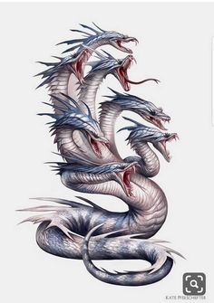 Creature Spot - The Spot for Creature Art, Artists and Fans. Hydra Jake: I like the texture of the skin of this hydra looking monster. Mythical Creatures Art, Mythological Creatures, Magical Creatures, Fantasy Dragon, Dragon Art, Fantasy Art, Sea Dragon, Fantasy Monster, Monster Art