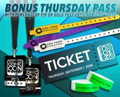 *PIN to WIN* Our Bonus Thursday Pass offer is expiring on Saturday, April 30, 2016 at 11:59pm. Buy a Salt Lake Comic Con 2016 VIP or Gold pass to receive a BONUS Thursday Pass with purchase! Click image for ticketing page. #SLCC16 #utah