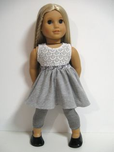 American Girl Doll Clothes- Grey and Lace Sewing Doll Clothes, Baby Doll Clothes, Doll Clothes Patterns, Doll Patterns, Barbie Clothes, Dress Patterns, My American Girl Doll, American Girl Crafts, American Doll Clothes