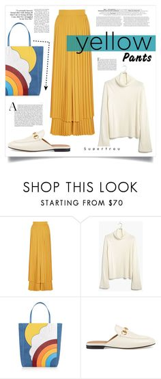 """""""YELLOW PANTS (JOIN THIS CONTEST)"""" by virgamaleva ❤ liked on Polyvore featuring Sara Battaglia, Madewell, Anya Hindmarch and Gucci"""