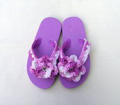 FLIP FLOPS for girls Lavender with fancy crocheted by fabriq, $10.00