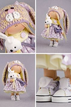 Nursery decor doll Tilda doll Interior doll Art doll blonde grey purple colors…