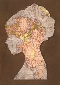 pretty silhouette using a vintage map