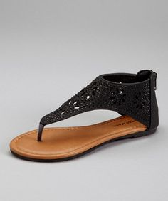 Another great find on #zulily! TOP MODA Black Cutout Gladiator Sandal by TOP MODA #zulilyfinds