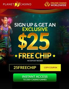 "Planet 7 Casino is an RTG-based online casino that offers new and established members numerous ways to increase their bankrolls. The fantastic promotions Planet 7 is offering – including $25 FREE CHIP no deposit bonus! We have exclusive Planet 7 no deposit bonus code ""25FREECHIP"" $25 in free casino chips. So, yes definitely cash in on the free $25 no deposit bonus, but then make a deposit and we recommend depositing with coupon code CASINO400. Deposit just and start playing with casino… Best Online Casino, Online Casino Bonus, Best Casino, Money Games, Casino Games, Free Money, Planets, Coupons, Chips"